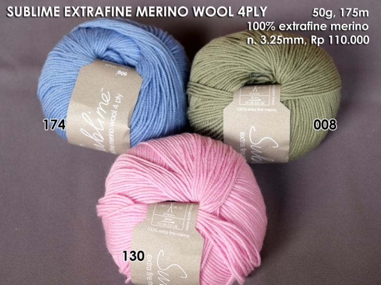 Sublime Extra Fine Merino Wool 4plly 50g
